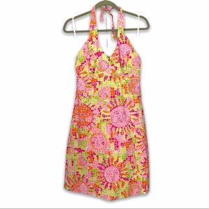 Vintage Lilly Pulitzer Mosaic Sun Halter Dress